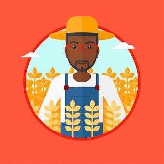 Agricoltore nell'illustrazione di vettore del giacimento di grano.