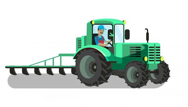Agricoltore nell'illustrazione di vettore di aratura del trattore