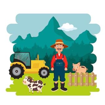 Agricoltore nella scena della fattoria