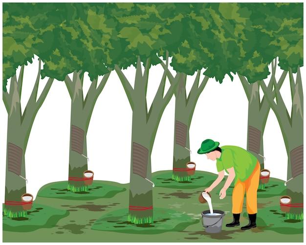 Agricoltore raccolta acqua in gomma nel disegno vettoriale giardino
