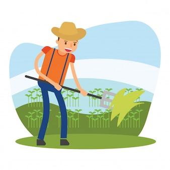 Agricoltori agricoltori agricoli raccogliere semi germogliare carattere cartone animato