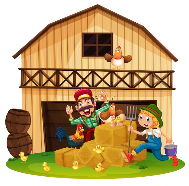 Agricoltori che lavorano nella fattoria