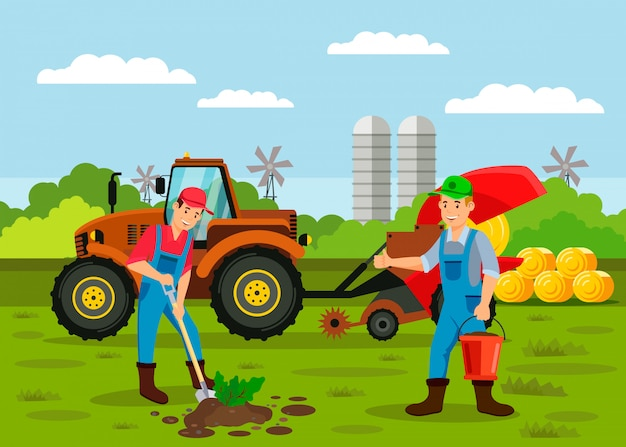 Agricoltori che piantano l'illustrazione di vettore del seme del germoglio
