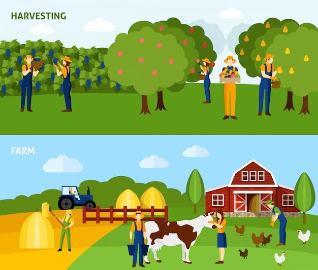 Agricoltura 2 composizione orizzontale banner piatte