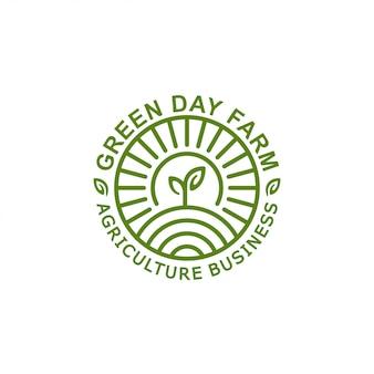 Agricoltura, ecologia, modello di timbro logo fattoria con foglia e natura