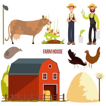Agricoltura. elementi del personaggio dei cartoni animati dell'azienda agricola su bianco