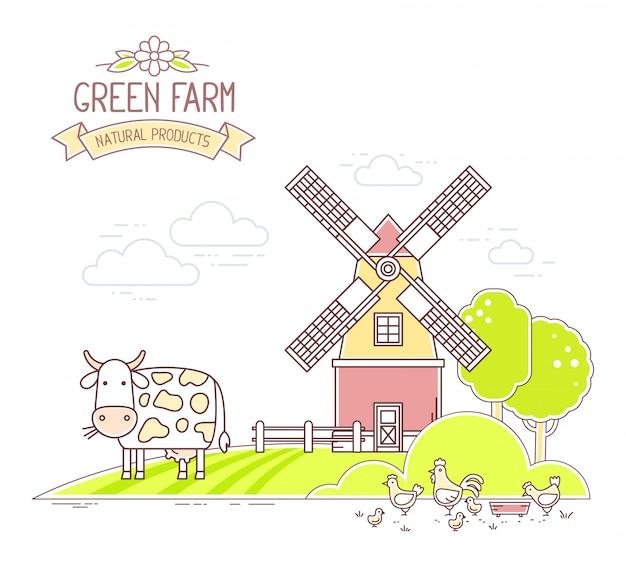 Agroalimentare. illustrazione della vita di fattoria colorato con economia naturale su sfondo bianco. paesaggio di paesaggio.