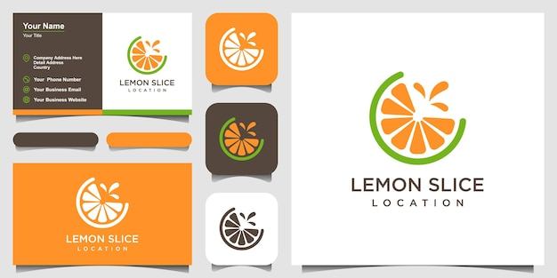 Agrumi fetta di limone in design piatto logo e biglietto da visita
