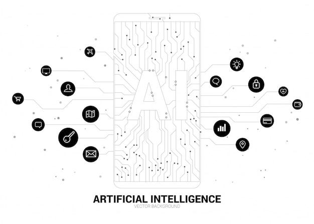 Ai nel telefono cellulare con grafica a circuito. concetto di telecomunicazione mobile con apprendimento automatico. intelligenza artificiale