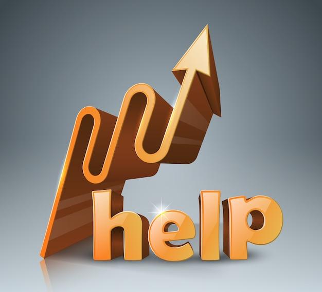 Aiuta il logo 3d su sfondo grigio