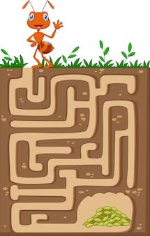 Aiuta la formica a trovare la strada per i cereali in un labirinto sotterraneo