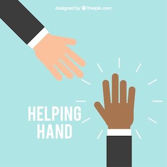 Aiutando la mano sullo sfondo in stile piatto