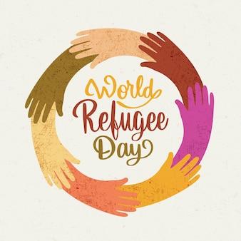 Aiutare insieme il giorno disegnato a mano del rifugiato di concetto