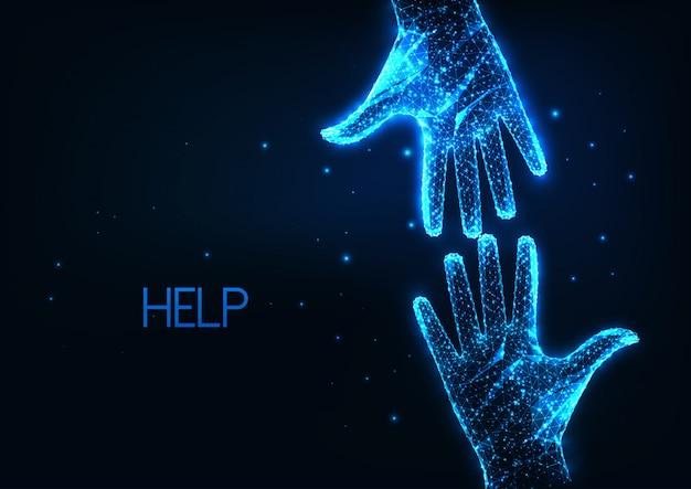 Aiuto futuristico, assistenza con due mani umane poligonali basse e luminose che si raggiungono