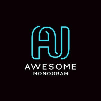 Aj logo monogramma semplice e creativo