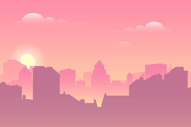 Al mattino il paesaggio urbano. silhouette architettonica
