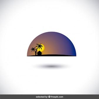 Alba nel deserto orizzonte