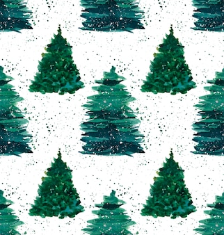 Alberi di abete rosso verde invernale di natale con pattern di spruzzo verde