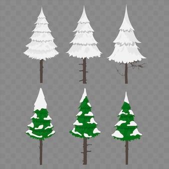 Alberi di natale alberi di natale nella neve. alberi di natale invernali. elementi per il design. questi dettagli sono adatti per la composizione del nuovo anno e dell'inverno.