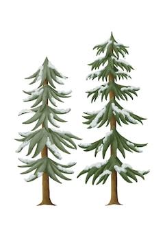 Alberi di pino innevati disegnati a mano