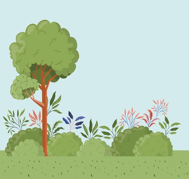 Alberi e foglie con scena di paesaggio di bush