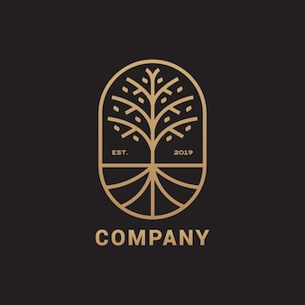 Albero astratto con logo di radice, illustrazione elegante e di lusso