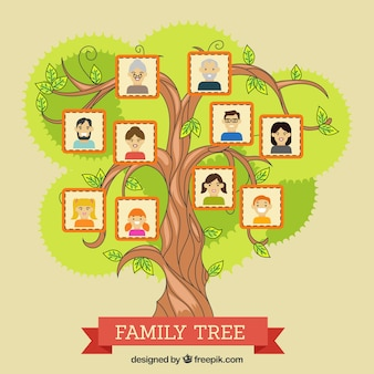 Albero colorato con i familiari decorativi