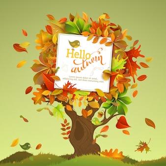 Albero d'autunno. foglie di betulla, olmo, quercia, sorbo, sorbo, acero, castagno e pioppo autunnali colorati luminosi su albero.