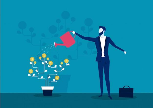 Albero dei soldi d'innaffiatura di affari, finanza di investimento, crescita finanziaria