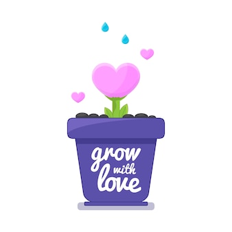 Albero del cuore di amore che cresce in vaso.