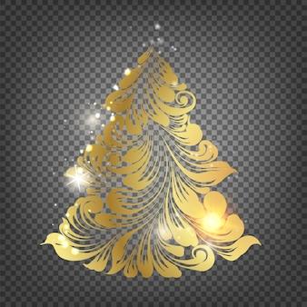 Albero di abete di natale dorato su sfondo trasparente.