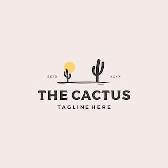 Albero di cactus con logo sole