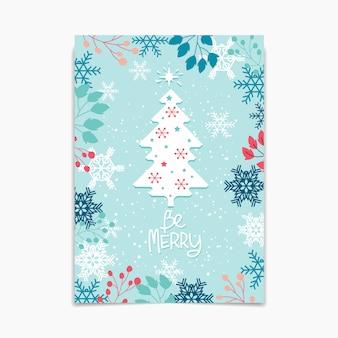 Albero di natale con carta di fiocchi di neve