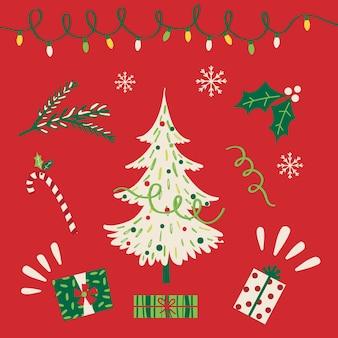 Albero di natale con ornamento di natale con colore rosso e verde