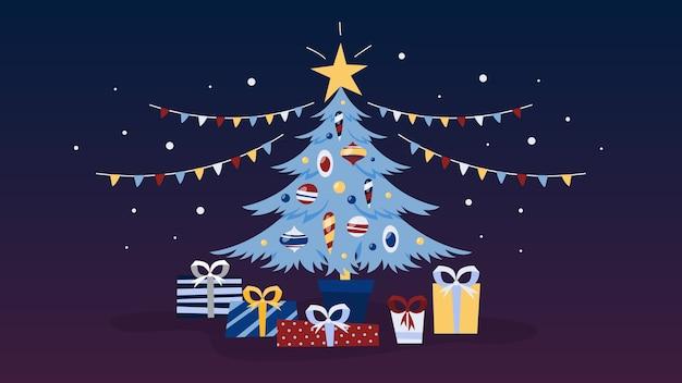 Albero di natale decorato con doni sotto di esso. vacanze invernali e festa di capodanno. illustrazione