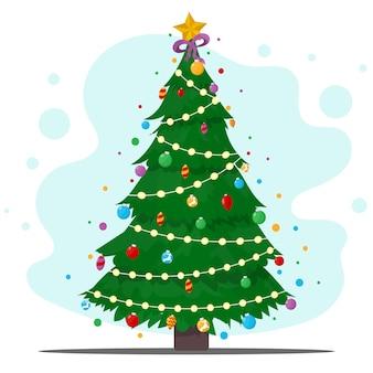 Albero di natale decorato con stelle, luci, decorazioni per palline e lampade. buon natale e felice anno nuovo. illustrazione stile piatto.