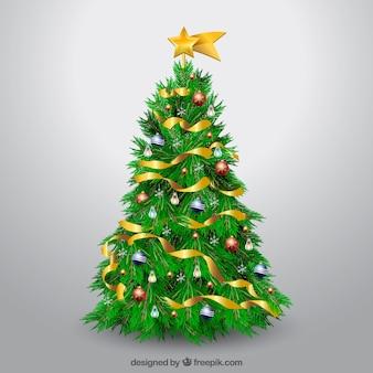 Albero di Natale decorato realistico