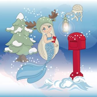 Albero di natale di mermaid anno nuovo a colori