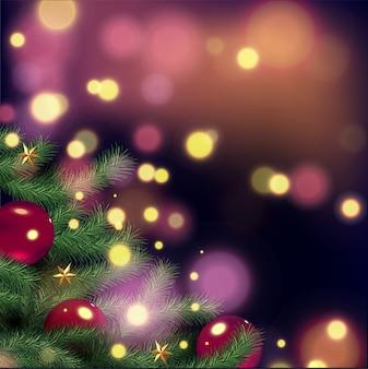 Albero di natale e decorazioni su sfondo invernale. bagliori realistici. luci bokeh