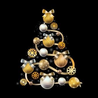 Albero di natale fatto di realistiche decorazioni dorate