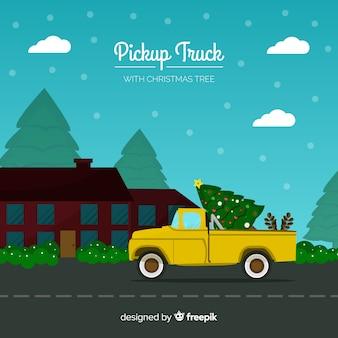 Albero di natale su un camioncino