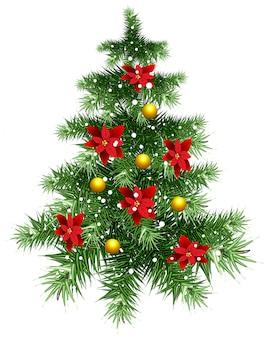 Albero di natale verde lanuginoso con gli ornamenti