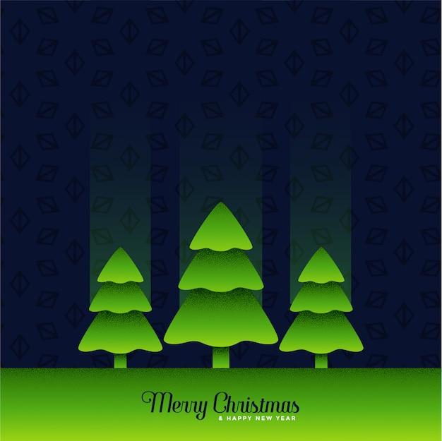 Albero di natale verde tre su sfondo scuro