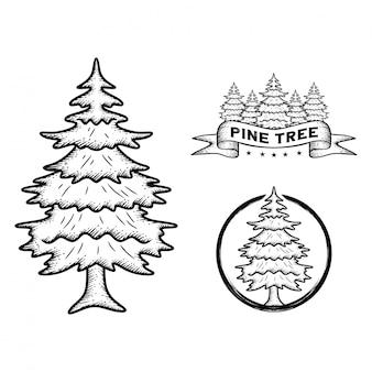 Albero di pino disegnato a mano