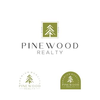 Albero di pino e modello di progettazione logo casa