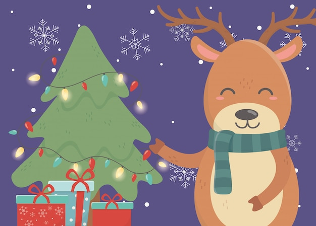 Albero di renne con luci e regali buon natale card