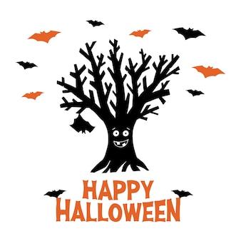 Albero divertente asciutto con pipistrello appeso e pipistrelli volanti. iscrizione arancione felice di halloween. biglietto di auguri vacanza. isolato su sfondo bianco.