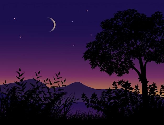 Albero e cespuglio di notte con falce di luna