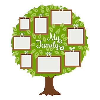 Albero genealogico verde con cornici