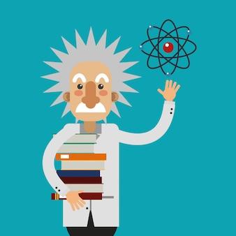 Albert einstein con immagine icone relative alla scienza